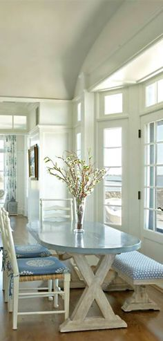 Cottage breakfast nook, galvanized oval table, driftwood, whites