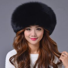 1fb32a0ee94f1 Black Fox Fur Sheepskin Leather Hat White Russian Ushanka Cossack Trapper  Hat Beanie Hats For