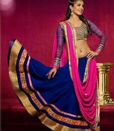 Buy Blue embroidered Georgette unstitched lehenga choli lehenga-choli online