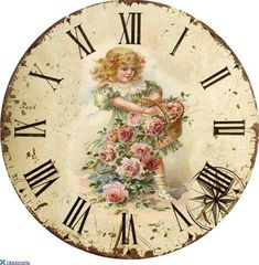 decoupage vintage image on clock face Decoupage Vintage, Decoupage Paper, Shabby Vintage, Retro Vintage, Vintage Labels, Vintage Ephemera, Vintage Cards, Clock Art, Diy Clock