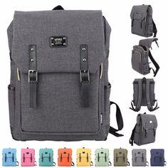 Mens-Canvas-Backpack-School-Laptop-Travel-Rucksack-Satchel-Fashion-Shoulder-Bag