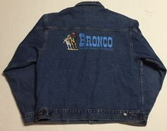 Bronco Denim Jean Jacket L The Best Horse in the Business Cowboy Western Rodeo #LALoving #BasicJacket