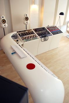 #music studio. Interesting board setup.