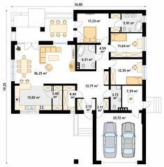 Three Bedroom House Plan, Family House Plans, Best House Plans, Home Design Floor Plans, House Floor Plans, Modular Home Plans, One Storey House, Indian House Plans, Modern Bungalow House