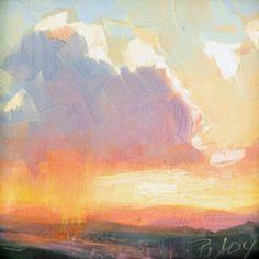 miniature sunset painting