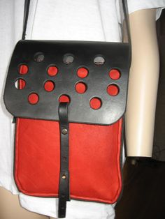 Handmade Leather Bag black and red punching assembly of by ALEXBAG, $150.00