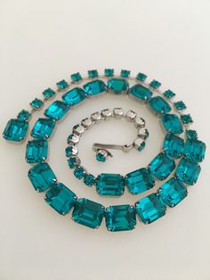 Vintage Designer Signed Weiss Prong Set Emerald Cut Turquoise Blue Rhinestone Adjustable Chocker Necklace, Vintage Weiss Necklace Jewelry