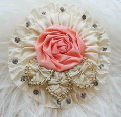 Circa 1920s Never Used Lovely Powder Puff Wand Adorned With A Large Pink Ribbonwork Rosette and Rhinestones