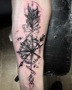 Blackwork compass and arrow tattoo - Blackwork compass and arrow tattoo – –. - Blackwork compass and arrow tattoo – Blackwork compass and arrow tattoo – – - Hand Tattoos, Arrow Tattoos, Forearm Tattoos, Body Art Tattoos, Small Tattoos, Sleeve Tattoos, Tattoos For Guys, White Tattoos, Ankle Tattoos