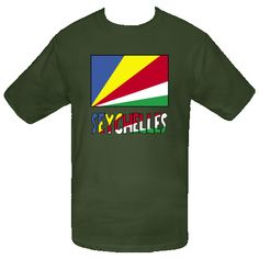 """Lovely design features the #Seychellois #Flag with the word """"Seychelles"""", below, in the colours or colors of the flag. Terrific for travelers wanting to recall a trip, vacation or holiday. Wonderful for honoring your ethnic heritage, ancestry and culture. Creative teachers may find some items good teaching aids or tools. Great gift ideas for Christmas, birthday or anytime. $16.99 http://ink.flagnation.com from your @Auntie Shoe"""