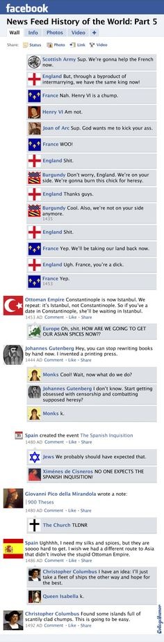 Facebook News Feed History of the World: Hundred Years' War to the New World (Page 2) - CollegeHumor Post