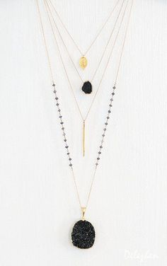 Gemstone Slice Pendant Necklace Layered Necklaces by delezhen