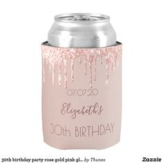 Birthday party rose gold pink glitter glam girly can cooler - glamour gifts diy special unique Birthday Roses, Pink Birthday, 80th Birthday, Rose Gold Pink, Rose Gold Glitter, 30th Birthday Party For Her, Birthday Ideas, 50th Party, Gold Party