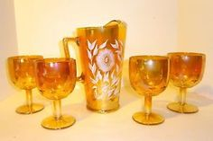 "Jeanette Marigold ""Late Sunflower"" Cosmos Carnival Glass Pitcher & Goblets"