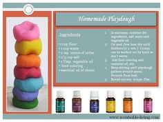 Another fun one in our home is homemade playdough. Add essential oils to stimulate concentration (peppermint), mental clarity (clarity or peppermint), stress relief/pick-me-up (any citrus oil), relaxation (lavender or Peace & Calming), creativity (Citrus Fresh, Envision, Magnify Your Purpose)-Visit me at www.thelivingdrop.com for more oil tips to keep your family healthy!