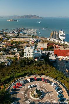 Fisherman's Wharf and San Francisco Bay from Telegraph Hill, Coit Tower, San Francisco, California