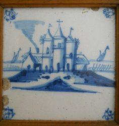 Delft tile with cobalt decoration- Dutch 18th century