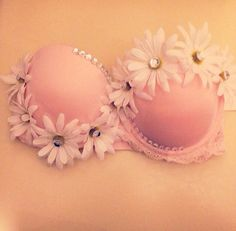 Light pink daisy rave bra by TrippyChickDancewear on Etsy, $45.00
