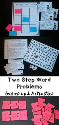 Two step word problem games and activities - I love this packet! It even has multi step word problem quizzes and anchor charts!