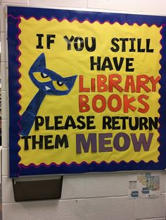 Pete the Cat - June 2018 Library Work, Library Skills, Library Bulletin Boards, Library Lessons, Elementary Bulletin Boards, Elementary School Library, Preschool Bulletin, Library Science, Library Activities