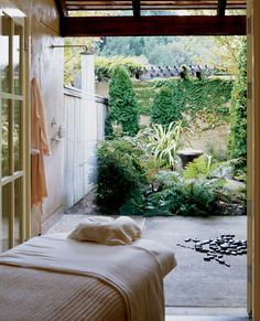 Treatment room with private shower garden at Auberge du Soleil, Napa Valley