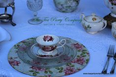 Decoupage Chargers Vintage Glassware Teacups & sSaucers Teapot Sets All for ent @ The Tea Party Company