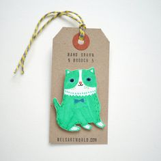 Lime green cat brooc