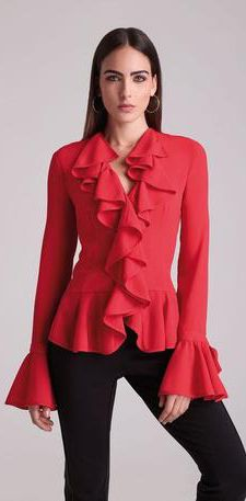 Alberto Makali Ruffled Blouse in Colors Peplum, Ruffle Blouse, Cute Winter Outfits, Fall 2016, Blouses, Colors, Long Sleeve, Sleeves, Tops
