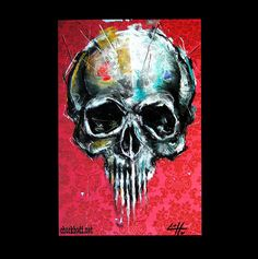 Print 11x17 - Red Skull - Abstract Skeletons Macabre Dark Art Bones Taxidermy Death Day of the Dead Horror Spooky Gothic Creepy Cute