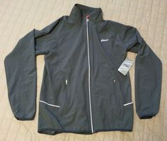 ASICS men size M #running jacket front zip reflective  NWT gray color visit our ebay store at  http://stores.ebay.com/esquirestore