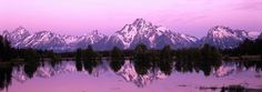 Pale Pink Sunset Mountain Panorama