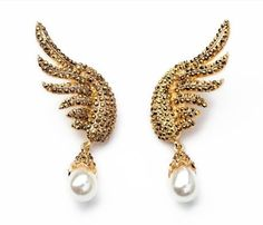 Cool Golden Rhinestone Pearl Angel Wing Statement Earrings : Stylish Bling Earrings - 2016 Statement Fashion Jewelry