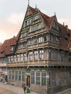 original photograph of Old house, Hildesheim, Hanover, Germany. This color photochrome print was created between 1890 and 1900 in Hanover, Germany.