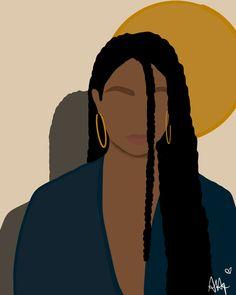 Black Love Art, Black Girl Art, Black Girl Aesthetic, Aesthetic Art, Black Art Painting, Woman Painting, Illustrations, Illustration Art, Arte Black