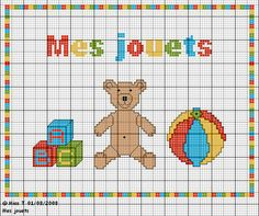 Bébé - baby - jouet - point de croix - cross stitch - Blog : http://broderiemimie44.canalblog.com/