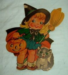 vintage 1950s witch jol black cat halloween linen paper napkin very detailed all hallows eve 4 pinterest cats black and vintage
