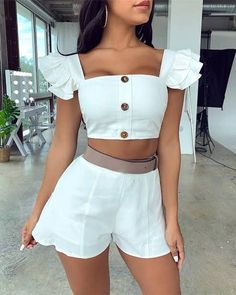 Trend Fashion, Teen Fashion Outfits, Trendy Outfits, Fashion Dresses, Cute Outfits, Style Fashion, Crop Top Outfits, Shirts & Tops, Womens Fashion Online
