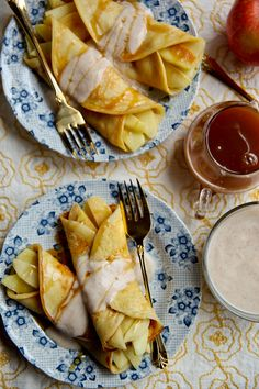 """Apple Crepes with Yogurt"" - I love the OJ and maple syrup in the crepe batter!"