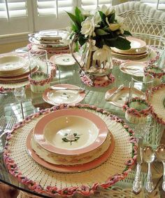 Vintage Crocheted Luncheon Set in Pink, Green and White make for a beautiful table setting perfect for Mother's Day celebrations from Between Naps on the Porch.