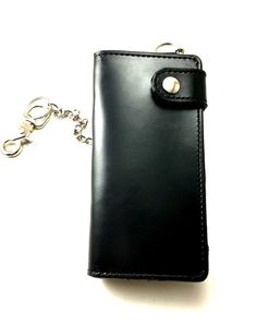 Black and Black Handmade Custom Leather Chain Wallet Made In U.S.A.