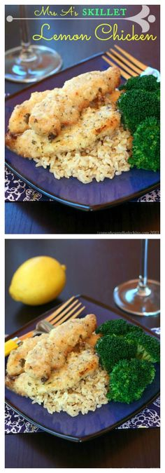 Mrs. A's Skillet Lemon Chicken - a family favorite recipe for years! | cupcakesandkalechips.com |easy to make gluten free
