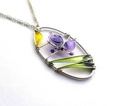 Spring pendant purple butterfly pendant wire por ThePurpleBalloon, $24.00