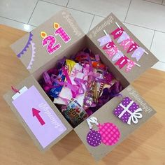 Check out our affectionate presents for your chosen girlfriend which can all show her the volume of individuals care! Cute Birthday Gift, 16th Birthday Gifts, Birthday Gifts For Best Friend, Birthday Gifts For Girlfriend, Birthday Box, Birthday Cards, Teen Birthday, Boyfriend Birthday, Bff Gifts