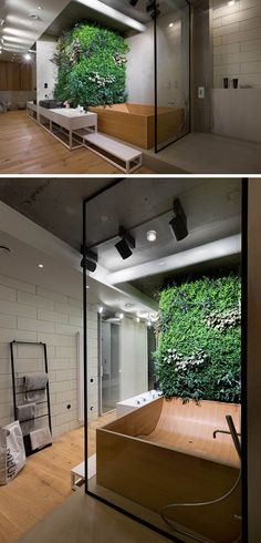 Bathroom Design Idea - Create a Spa-Like Bathroom At Home // Include touches of nature like a green wall or plants.