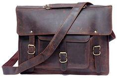 Feathertouch Leder Tasche echt Leder Aktentasche MacBook Tasche B�ro Laptop Tasche, Umh�ngetasche braun im Vintage Look