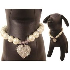 Uptown Girl Pearl Necklace for Dog Cat Pet.  Someday, I'll have a short-haired dog (instead of the long-haired American Eskimo I have now) and I'll be able to indulge with these kinds of cool collars!