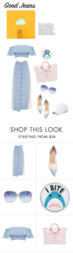 """""""50 shades of done with winter"""" by iriadna ❤ liked on Polyvore featuring Rosie Assoulin, Gianvito Rossi, Victoria Beckham, Skinnydip, Anja, Chanel, Sole Society, hats, CasualChic and alldenim"""