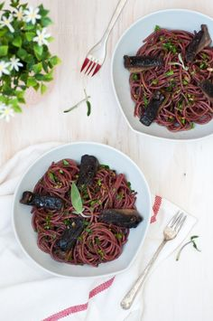Pomegranate infused spaghetti w/ garlic sage butter