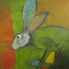 """Green Hopper"" oil on panel  24"" x 24""  $2400 Rebecca Haines"