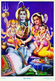 Hindu Cosmos - Shiva Parvati Ganesh Murugan Artist: T. Shiva Parvati Images, Mahakal Shiva, Shiva Statue, Shiva Art, Ganesha Art, Lord Ganesha, Krishna, Saraswati Goddess, Durga